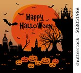 happy halloween card. vector... | Shutterstock .eps vector #503051986