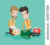 team of young emergency doctors ... | Shutterstock .eps vector #503057308