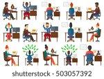 businessman concluding online... | Shutterstock .eps vector #503057392