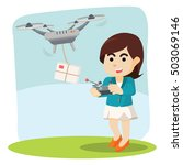 businesswoman using drone for... | Shutterstock . vector #503069146