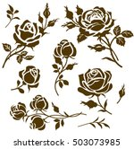 Stock vector vector flower icon set of decorative rose silhouettes vintage roses and buds 503073985