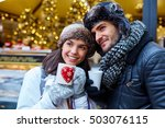 romantic young couple drinking... | Shutterstock . vector #503076115