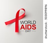 Small photo of Aids Awareness Sign Red Ribbon. World Aids Day concept, 1 December, Logo HIV symbol.