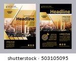 gold brochure layout design... | Shutterstock .eps vector #503105095