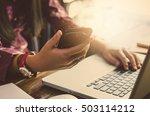 closeup young business  working ... | Shutterstock . vector #503114212