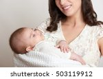 mother with sleeping baby... | Shutterstock . vector #503119912