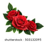 Stock photo red rose flowers corner arrangement isolated on white 503132095