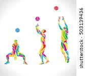 vector volleyball silhouettes... | Shutterstock .eps vector #503139436