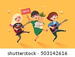crowd of girls going to the... | Shutterstock .eps vector #503142616