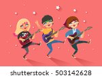 girls rock band. happy young... | Shutterstock .eps vector #503142628