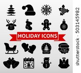 christmas holiday icons set... | Shutterstock .eps vector #503145982