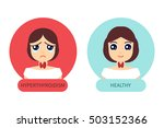 two women with hyperthyroid and ... | Shutterstock .eps vector #503152366