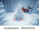 santa claus and christmas tree  ... | Shutterstock . vector #503155432