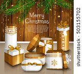 christmas card with pile of... | Shutterstock .eps vector #503155702