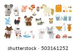 farm animals set. isolated home ... | Shutterstock .eps vector #503161252