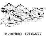 mountain landscape  forest pine ... | Shutterstock . vector #503162332