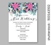 poinsettia wedding invitation... | Shutterstock .eps vector #503163502
