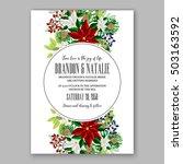 poinsettia wedding invitation... | Shutterstock .eps vector #503163592
