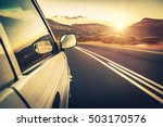 road trip on sunset  car on the ... | Shutterstock . vector #503170576