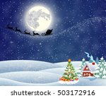 a house in a snowy christmas... | Shutterstock .eps vector #503172916
