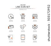 shopping line icon set | Shutterstock .eps vector #503172952