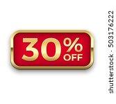30  off golden badge  vector.   Shutterstock .eps vector #503176222
