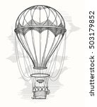 retro hand drawing hot air... | Shutterstock .eps vector #503179852