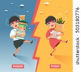 monday vs friday concept.... | Shutterstock .eps vector #503180776