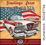 vintage touristic greeting card ... | Shutterstock .eps vector #503187766