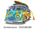 retro bus with surf boards | Shutterstock .eps vector #503188288