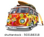 retro bus with surf boards | Shutterstock .eps vector #503188318