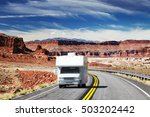 traveling by motorhome ... | Shutterstock . vector #503202442