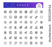 set of 56 space line icons... | Shutterstock .eps vector #503210416