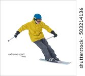 skier on slope vector... | Shutterstock .eps vector #503214136