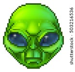 pixel art green cartoon alien... | Shutterstock .eps vector #503216536