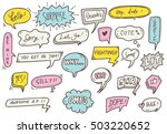set of cute speech bubble with... | Shutterstock .eps vector #503220652