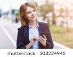 businesswoman typing message... | Shutterstock . vector #503224942