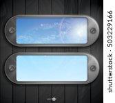 metallic frame with screws on... | Shutterstock .eps vector #503229166