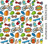 fashion patch set with teenager ... | Shutterstock .eps vector #503241196