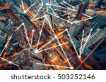 city scape and network... | Shutterstock . vector #503252146