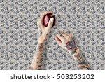 tattoo apple fruit red fresh... | Shutterstock . vector #503253202