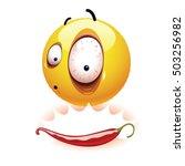 very hot chili pepper causing... | Shutterstock .eps vector #503256982