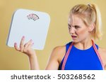 fit fitness woman with scale.... | Shutterstock . vector #503268562