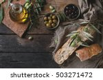 green and black olives in tin... | Shutterstock . vector #503271472