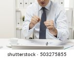close up of man with his fists... | Shutterstock . vector #503275855