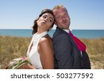 cheerful married couple... | Shutterstock . vector #503277592