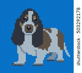 vector knitted dog pattern.... | Shutterstock .eps vector #503292178