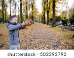 happy child boy playing with... | Shutterstock . vector #503293792