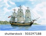 Tall Ship  Watercolor Painting