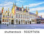 burg square with town hall in... | Shutterstock . vector #503297656